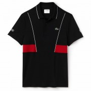 Camisa Polo Lacoste Novak Djokovic - Preto e Vermelho